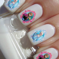 Frozen Elsa and Anna Tattoo Nail Decals