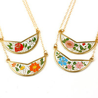 Vintage Bib Necklaces, Enamel Pendant Collar Cloisonne Necklace Choker, Colorful Layer Necklace Rose Red, Necklace Orange and White Jewelery