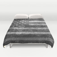 """""""Old Glory"""", The Star-Spangled Banner in Greyscale Duvet Cover by LonestarDesigns2020 - Flags Designs +"""