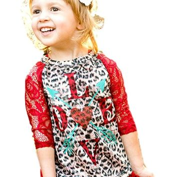 Southern Grace-Girls Love Arrows and Hearts on Leopard Shirt w/Red Sleeves
