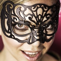 Victoriana black leather cut out mask by TomBanwell on Etsy