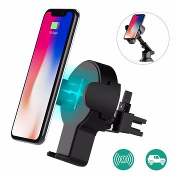 Fast Wireless Car Charger, Wofalo Retractable Wireless Car Charger Phone Bracket 360Rotation Charging Pad Stand for iPhone X
