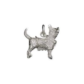 Sterling Silver Fox Terrier in Sweater Charm Pendant