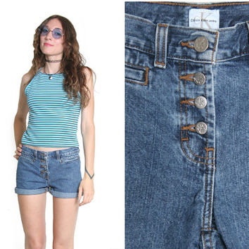 90s CK Shorts - Calvin Klein 90s 1990s Denim Shorts - Jean Shorts - 90s Shorts - Button Fly - Blue Denim - Hippie - Soft Grunge Goth