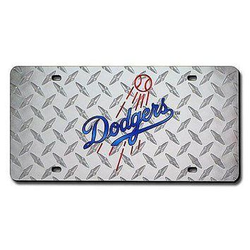 Los Angeles Dodgers MLB Laser Cut Diamond Plate License FREE US SHIPPING