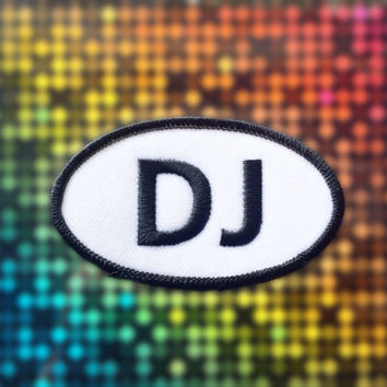 "DJ Patch - Iron or Sew On - 2"" x 3.5"" - Embroidered Oval Appliqué - Black White - Disc Jockey Gift Music Club Hat Bag Accessory Handmade USA"