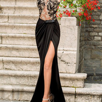 Sexy Sheer Lace Evening Dresses Mermaid Spandex Black Long Party Ball Prom Gowns with High Split Front Backless Prom Dresses
