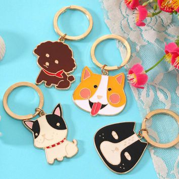 Cute Llavero Animal Dog Black Crocodile Key Chain Corgi Bulldog Puppy Keyring Accessories
