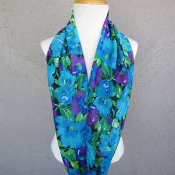 Floral Infinity Scarf - Green, Blue and Purple Floral Scarf - Floral Print Chiffon Scarf