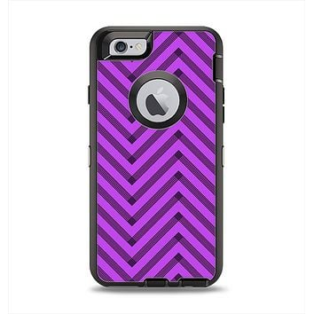 The Purple & Black Sketch Chevron Apple iPhone 6 Otterbox Defender Case Skin Set