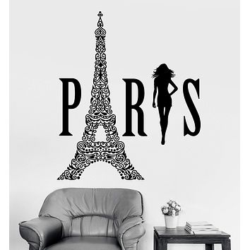 Vinyl Wall Decal Paris Eiffel Tower Woman France Girl Room Stickers Unique Gift (ig3580)