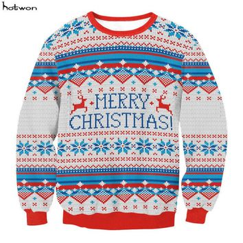 New Winter Kawaii Men Santa Xmas Christmas Novelty Fairisle Retro Jumper Sweater blusas blusa