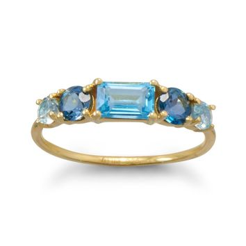 14k Yellow Gold over Sterling Silver London, Swiss and Sky Blue Topaz Ring