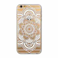 "IPhone 6 6s 4.7"" Transparent Soft TPU Case Cover Henna White Floral Paisley Mandala"