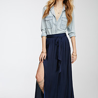Shirred Sateen Maxi Skirt
