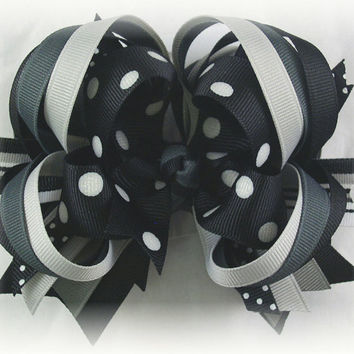 Boutique Hair Bow, Black Hair Bow, Black bow, Boutique stacked bow, Toddler hairbow, Over the top bow, Pageant bow, Hair bows for girls