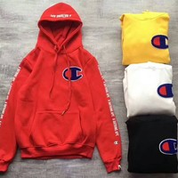BAPE x CHAMPION Embroider Big Logo Long Sleeve Pullover Hoodie Sweater Red G -CN-CFPFGYS