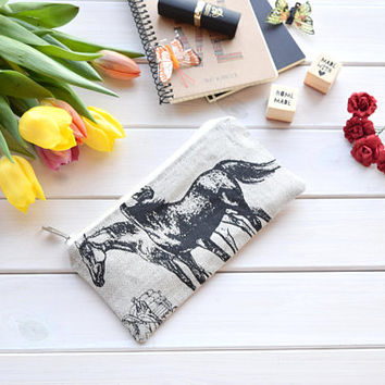 Horses zipper pouch, cosmetic bag, pencil box, pencil bags, school supplies, pencil pouch, pencil holder, pen case, cute pencil case, women