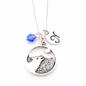Wolf Full Moon Charm Necklace - Personalized Initial Sterling Silver Custom Jewelry