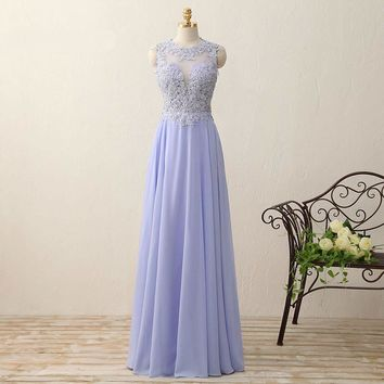 Beauty A Line Chiffon Sleeveless Beading Long Evening Dresses Appliques Open Back Floor Length O-neck Evening Dress