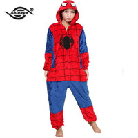 Shineye SpiderMan Unisex Adults Casual Flannel Hooded Pajamas Cosplay Cartoon Animal Onesuits Pyjamas  For Women Men