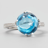 White Jelly Bean Round Sky Blue Topaz & Diamond Ring, 0.12 TCW