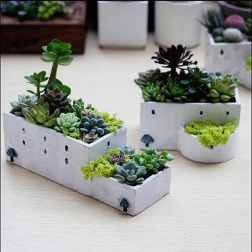 ONETOW Garden Ceramic  Flowerpots Manual Flower Planters Mediterranean Nursey Pots for Succulent Plants