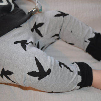 Baby Leggings, Toddler Leggings - Black Birds