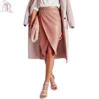 3 Colors High Waist Ruched Wrap Front PU Pencil Skirt Knee Length Leather Plain Skirts 2016 Spring Autumn Women New Clothing