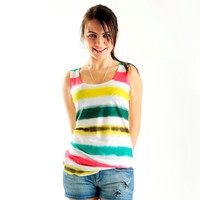 New Arrival! Yellow Striped Women T shirt, summer fashion, one side printed