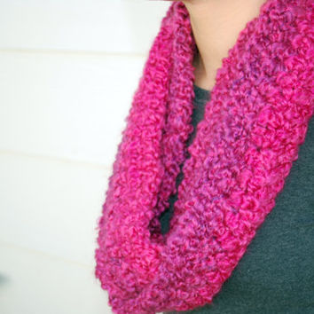 Chunky fuschia and purple ombré infinity scarf- Soft, washable, & comfy! Handmade crocheted cowl neck women's scarf - bright fall accessory