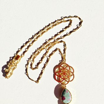Flower Of Life Ruby Necklace