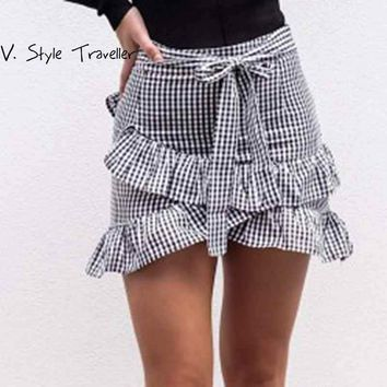 Plaids Ruffles Skirt Women High Waist Sexy Casual vestido de festa feminino Summer Style Sash Bow Boho Gypsy Preppy Wrap Skirts