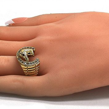 Gold Layered Mens Ring, Horse Design, with Cubic Zirconia, Golden Tone