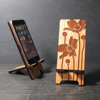 Wood Floral Phone Stand Docking Staion - 5 sizes works with most phones - Custom fit for iPhone 4, iPhone 5, iPhone 6 and iPhone 6 Plus
