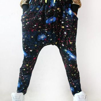Black Galaxy Print Drawstring Fashion Long Pants