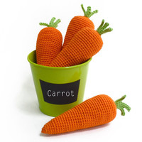 Crochet Carrot 1pc - Pretend food - Play food - Teething Toy