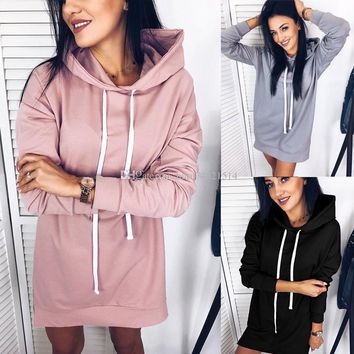 Women Casual Pink Hoodies Hooded Dress Mini Pullover Hooded Drawstring Full Sleeves Women Dress Fashion Women's Sweatshirt Dress