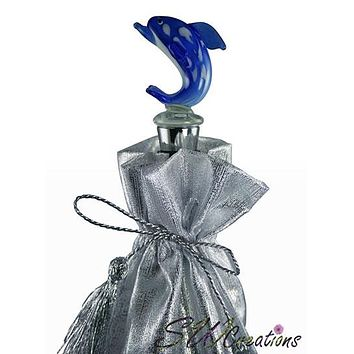 Blue Dolphin Glass Wine Stopper