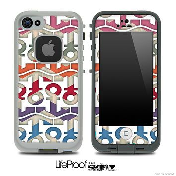 White and Vintage Chevron Anchor Collage Skin for the iPhone 5 or 4/4s LifeProof Case