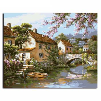 Country Landscape DIY Canvas Oil Painting By Numbers Kit - DIY Art home Decor 16x20 Inch No Frame