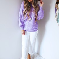 Roll With Me Sweater: Lavender