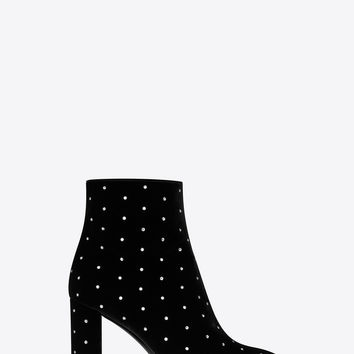 LOULOU 95 zip ankle boot in black velvet and white crystals