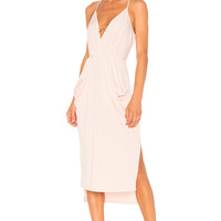 BCBGeneration Midi Faux Wrap Dress In Rose Smoke in Rose Smoke | REVOLVE