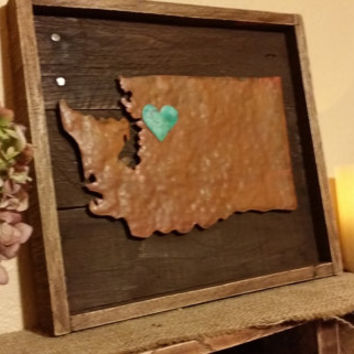 State Sign, Wood State Sign, Rustic Metal State Sign, Custom Sign, Wall Decor, Rustic Home Decor, Heart over City, Any State - Customize
