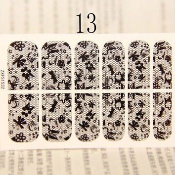 One Sheet Leaves and Floral Pattern Lace Nail Art Sticker