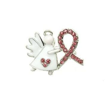 Breast Cancer Awareness Pink Ribbon Angel Pave Crystal Stone Pin And Brooch