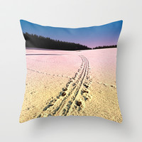 Cross country skiing | Winter wonderland | Landscape photography Throw Pillow by Patrick Jobst