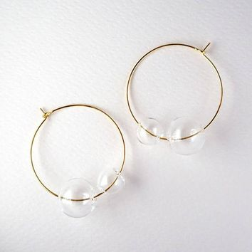 New Artsy Simple Style Gold Tone Large Glass Bubble Hoop Earrings For Women 2018 Charming Clear Double Balls Earrings Girls
