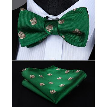 BGA04GS Animal Pattern Green Wedding Bowtie Men Silk Self Bow Tie handkerchief set